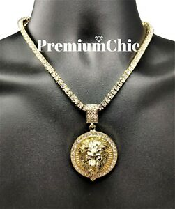 ICED Crowned Lion Pendant Necklace with Rope or Tennis Chain Men Hip Hop Jewelry