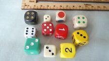 SET OF 10 SPARE 6 SIDED GAMES DICE ALL DIFFERENT DOTS & NUMERALS SOME VINTAGE