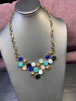 """Vintage Necklace Turquoise blue goldtone white Bling Statement Statement 18"""" ~"""