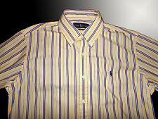 Ralph Lauren Men's MED CUSTOM FIT Yellow Stripe Shirt w/ Navy Blue Pony