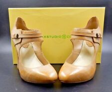 MAX STUDIO CAROLE MARY JANE PUMP CAMEL HEELS WITH BRUSH OFF CALF ~ SIZE 7