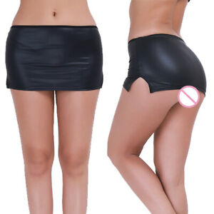 #M Sexy Women Lingerie Wet Look Leather Mini Skirt G-string Dance Party Clubwear