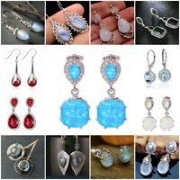 White Blue Fire Opal 925 Silver Ear Stud Earrings Women Fashion Wedding Jewelry