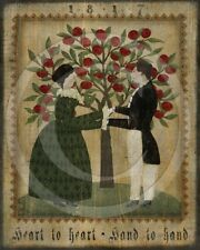 Primitive Folk Art Colonial Valentines Couple Hand To Heart Fraktur Print 8x10