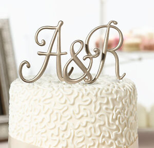 Gold Monogram Letter and Numbers Wedding Cake Topper