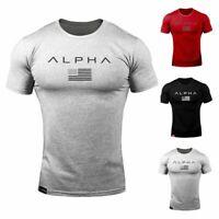 ALPHA Men's Gym T-shirt Fitness Bodybuilding Muscular Outdoor Jogging Shirt Tops