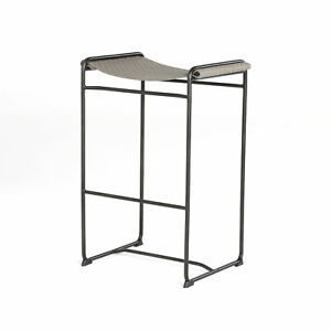 "28"" Fabiola Bar Counter Stool Iron Faux Leather Waxed Black Embossed Grey Beaut"