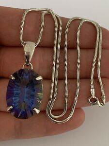 Solid Silver 20 Carat Mystic Topaz Large Heavy Pendant On Chain, 925