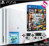 PS4 PLAYSTATION 4 PRO 1TB BLANCA 2 MANDOS BLANCOS GRAND THEFT AUTO GTA 5 FORNITE