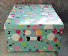 Vintage look~Large polka dot rectangular storage box teal pink white-NEW