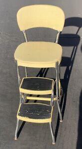 Vintage STYLAIRE Mid Century Retro White Kitchen Chair Seat Step StoolEUC