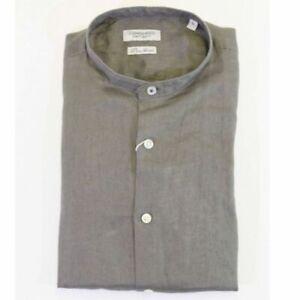 Camicia Uomo in Lino 100% Puro Manica Lunga Collo Coreana Regular Fit 32077