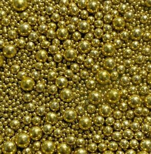 HIGH SHINE GOLD VARIOUS SIZES EDIBLE PEARLS SPRINKLES SUGAR CAKE DECORATIONS
