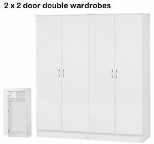 Alpha White Two Tone 2 Door Wardrobe Set of 2 | 4 Door Quad Package