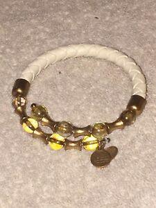 ALEX AND ANI Cream Ivory Braided Leather Vintage Sixty-Six Wrap Bracelet Gold