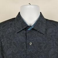 Bugatchi Uomo Shaped Fit Blue Paisley Striped Mens Dress Button Shirt Large L