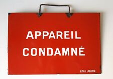 Vintage French enameled sign Warning or notice plaque Out of service machine