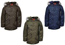 Boys Faux Furry Trimm Hooded Parka Winter Coat Padded Anorak School Jacket.
