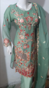 Embroidered  Chiffon Stitched SALWAR KAMEEZ  3PC SUIT ladies clearance  for Eid
