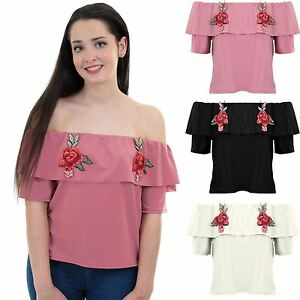 Ladies Short Sleeve Off Shoulder Bardot Floral Embroidery Textured Crop Top