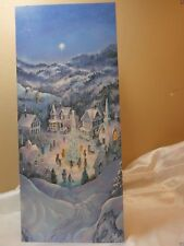 Holiday Seasonal Card Snowy Village Tree Story Greeting Gift Post Vintage