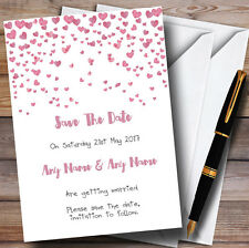Pink Heart Confetti Personalised Wedding Save The Date Cards