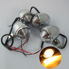 4x Universal Motorcycle Bullet Chrome Turn Signal Indicator Light Bulb Fr Harley