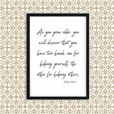 Audrey Hepburn Wall Art Print With Quote, Picture Home Decor, A4 Print, QP6