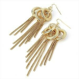 Glam Long Gold Tone 10 cm Multi Knot & Chain Chandelier Drop Earrings NEW