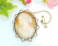 Antique Vintage Rolled Gold Carved Shell Cameo Brooch