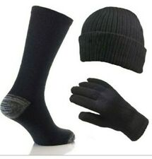 NEW 3 PIECE MERINO WOOL GIFT SET MEN'S HAT SOCKS AND GLOVES BLACK MIX ONE SIZE