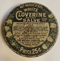 Vintage White Cloverine Brand Salve Tin - The Wilson Chemical Co. Inc.