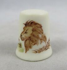 Vtg Hand Painted Thimble - Lion - San Diego Zoo - Bisque Porcelain