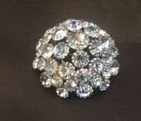 Vintage Blue Ice Rhinestone Large Flashy Brooch Pin Runway