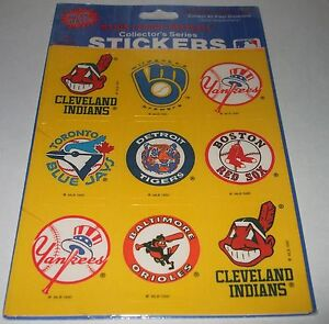 VTG 1990 MAJOR LEAGUE BASEBALL Collectors Series Sticker Sheet LOGOS Decals MLB