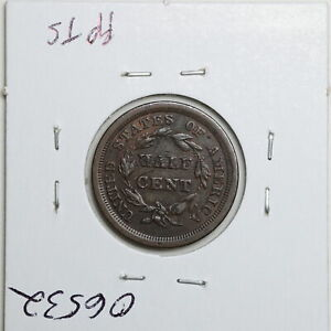 1855 1/2C Braided Hair Half Cent with XF Detail Scratches #06532