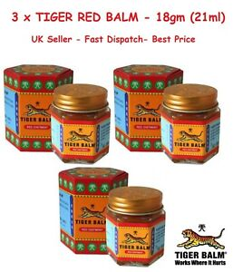 3 X RED TIGER BALM HERBAL RELIEF FROM Headaches,ACHES AND PAIN 21ML Cheapest