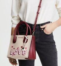 NWT Michael Kors LOVE Mercer Medium Messenger Leather Bag Soft Pink Mulberry