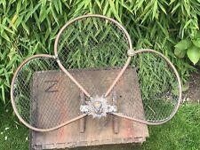 """Victorian Art Nouveau Copper Brass Fan Fire Screen Fire God Head Wire Mesh 24"""""""