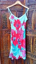 Warehouse Silk Holiday Dress Size 12 Blue Pink Floral Design Excellent Condition