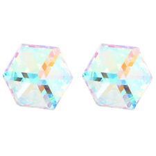 AB Clear Moonlight Cube Studs Earrings 6mm made with Swarovski Element Crystal