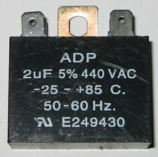 "ADP 2uF Motor Run Capacitor - 440 VAC - 50 / 60 Hz - +/- 5% - .25"" Terminals"