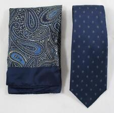 Saks Fifth Avenue Mens Silk Blue Beige Paisley Square Handkerchief and Tie Set