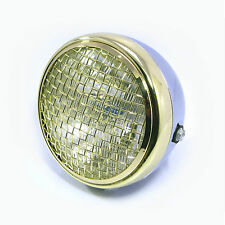 "Quality 7.7"" Chrome Brass Mesh Grill Metal H4 55W Cafe Racer Scrambler Headlight"