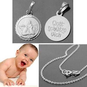 Kette Silber 925 Taufe Kommunion Kinder Gott schütze Dich Schutzengel Anhänger