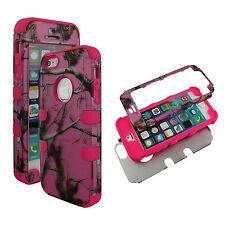 Hybrid Tuff Pink Camo RT Pink Strip Apple iPhone SE Case Cover