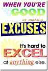 Excuses - Motivational Classroom Teaching  NEW POSTER