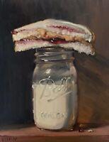 """PBJ /& Jar of Milk"" LARGE 24x16 NOAH VERRIER Still life painting Signed print"