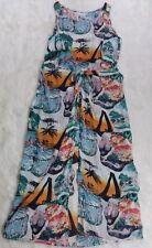 VTG Citron Santa Monica All Silk Dress Large Glamour Girls Palm Trees Wrap Maxi