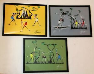 Vintage African Art Original Painting 3 Framed Hunters Spears Hunting Warriors
